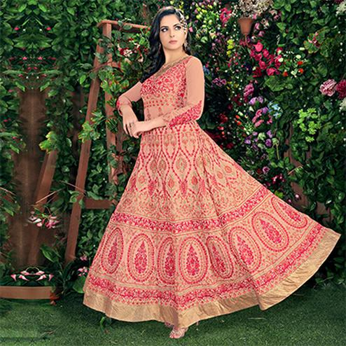 Peach Wedding Reception Wear Anarkali Suit