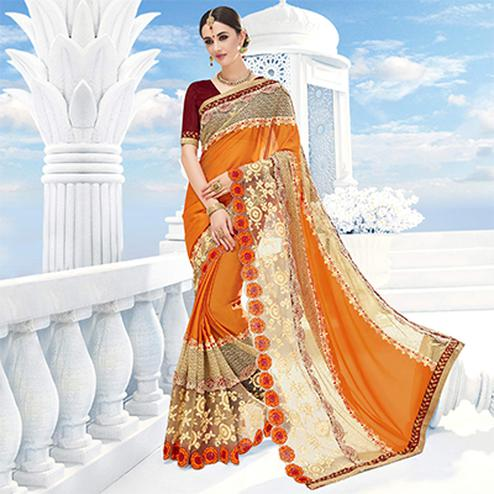 Beige - Orange Embroidered Work Saree