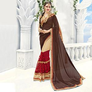 Brown - Beige Party Wear Half Saree