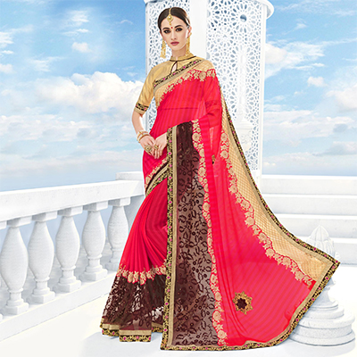 Red - Brown Party Wear Saree
