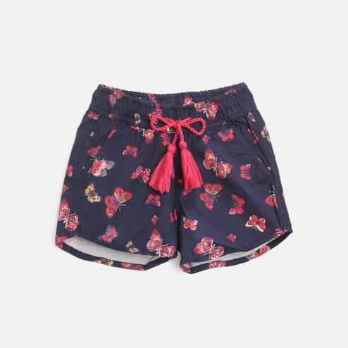 612 League - Blue Colored Butterfly Printed Straight Twill Shorts For Girls