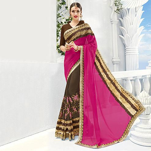 Brown - Pink Georgette & Silk Half Saree
