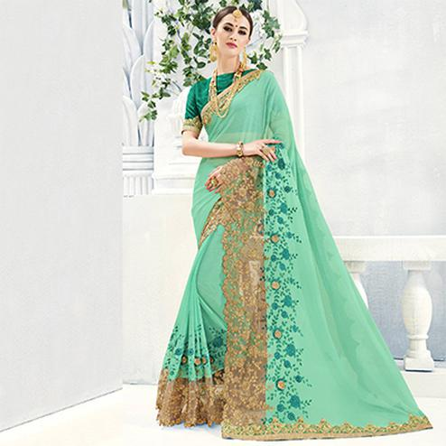 Sea Green Party Wear Georgette & Silk Saree