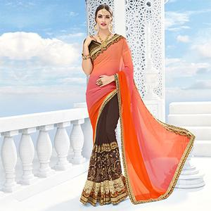 Brown - Shaded Pink Half & Half Saree