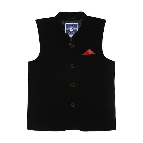 612 League - Black Colored Nehru Jacket Velvet Waistcoat For Boys