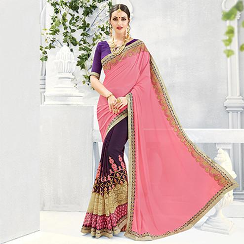 Purple - Pink Party Wear Half Saree
