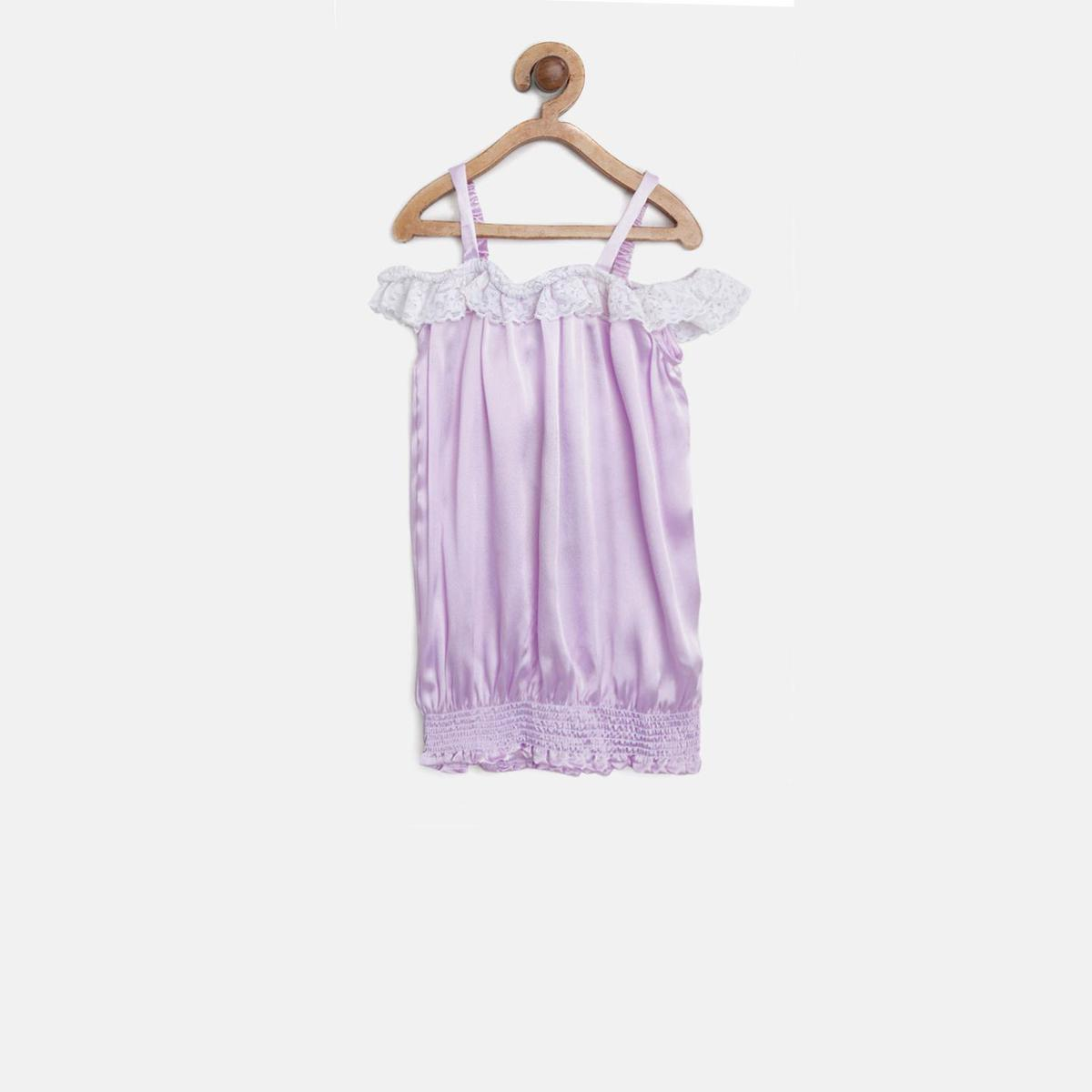 612 League - Purple Colored Cold Shoulder Woven Satin Top For Girls