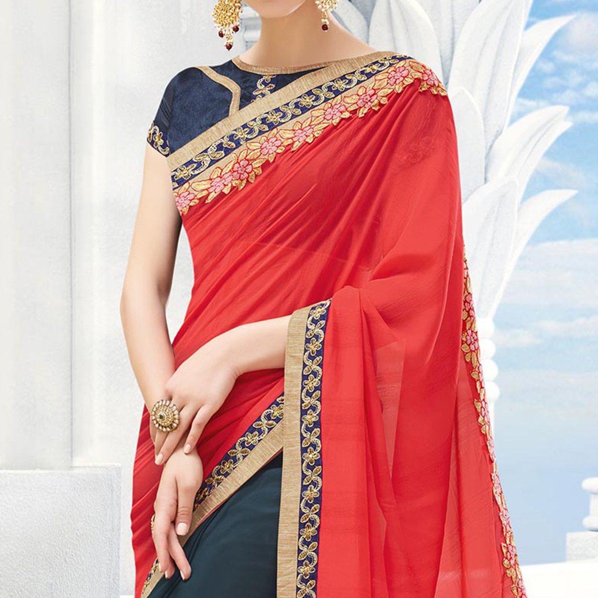 Slate Grey - Red Georgette & Silk Half Saree