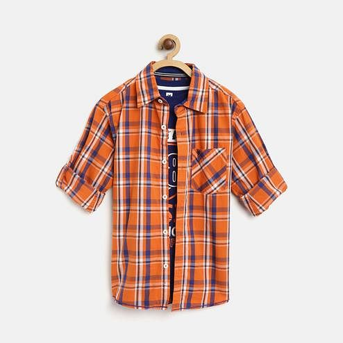 612 League - Orange Colored 2 Pcs Checks Shirt & T-shirt Set For Boys