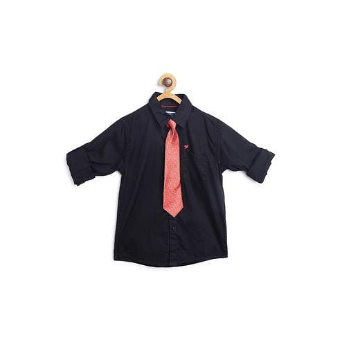612 League - Black Colored Solid With Tie Shirt For Boys