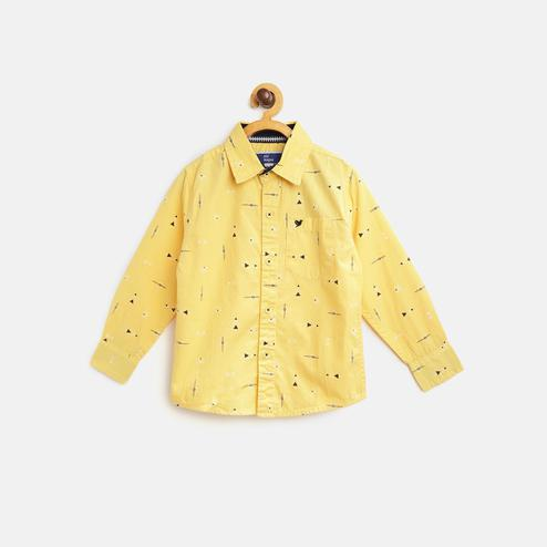 612 League - Yellow Colored Printed Collar Shirt For Boys