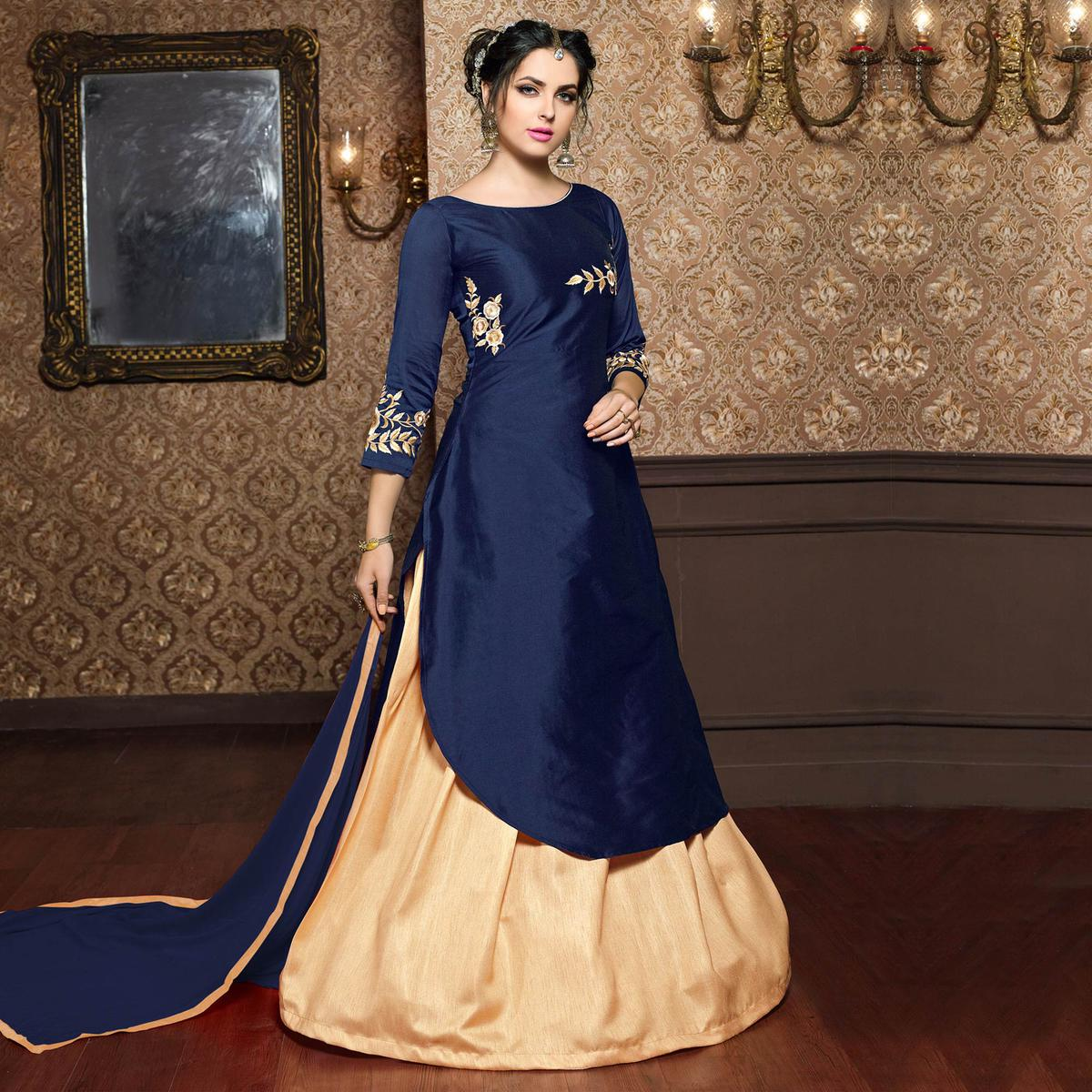Navy Blue Heavy Cotton Silk Dress Material