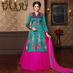 Pink - Green Embroidered Work Dress Material