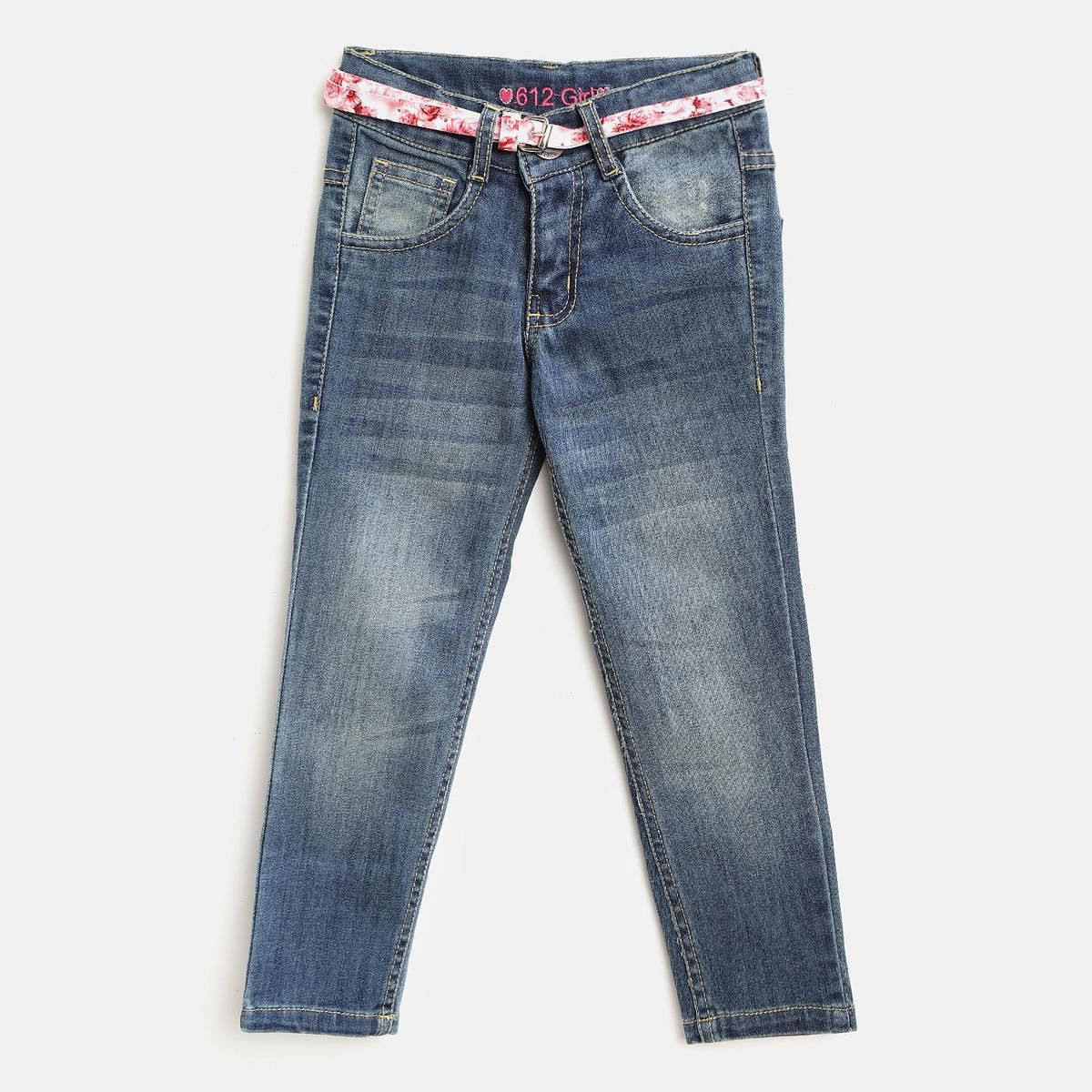 612 League - Blue Colored Basic Jeans For Girls