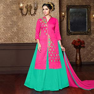 Pink - Sea Green Embroidered Dress Material