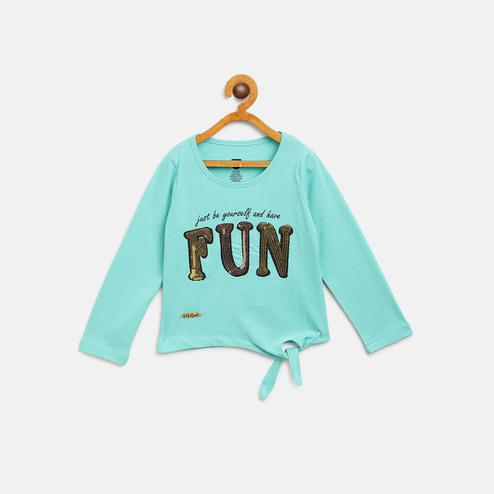 612 League - Blue Colored Knit Fun T-shirts For Girls