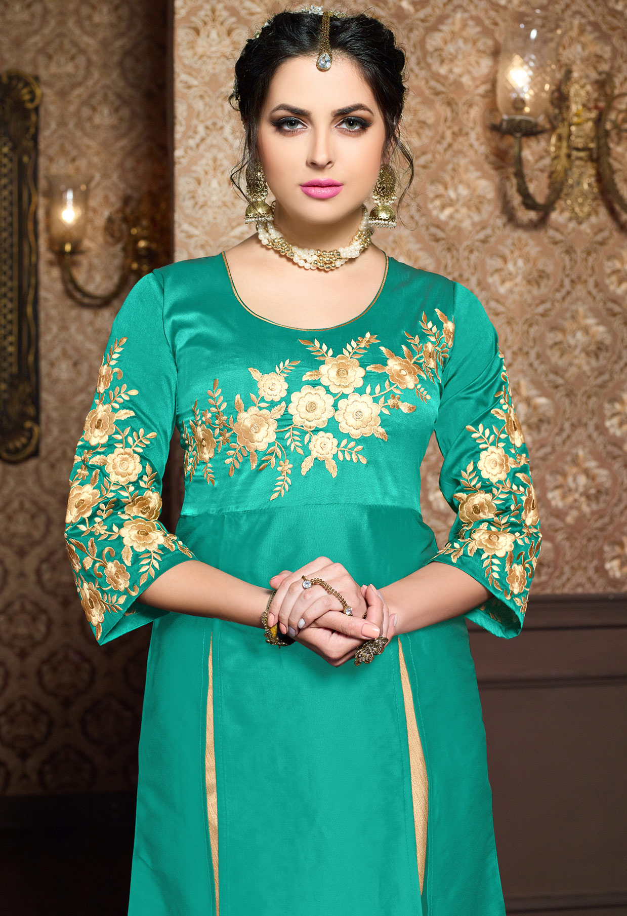 Green - Beige Cotton Silk Dress Material with Embroidery