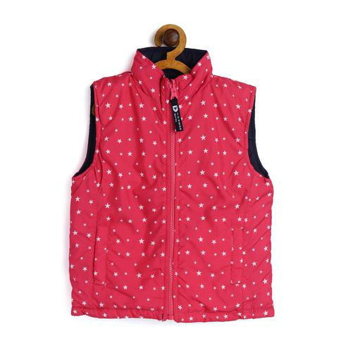 612 League - Pink Colored S/L Star Print Reversible Winterwear Jacket For Girls