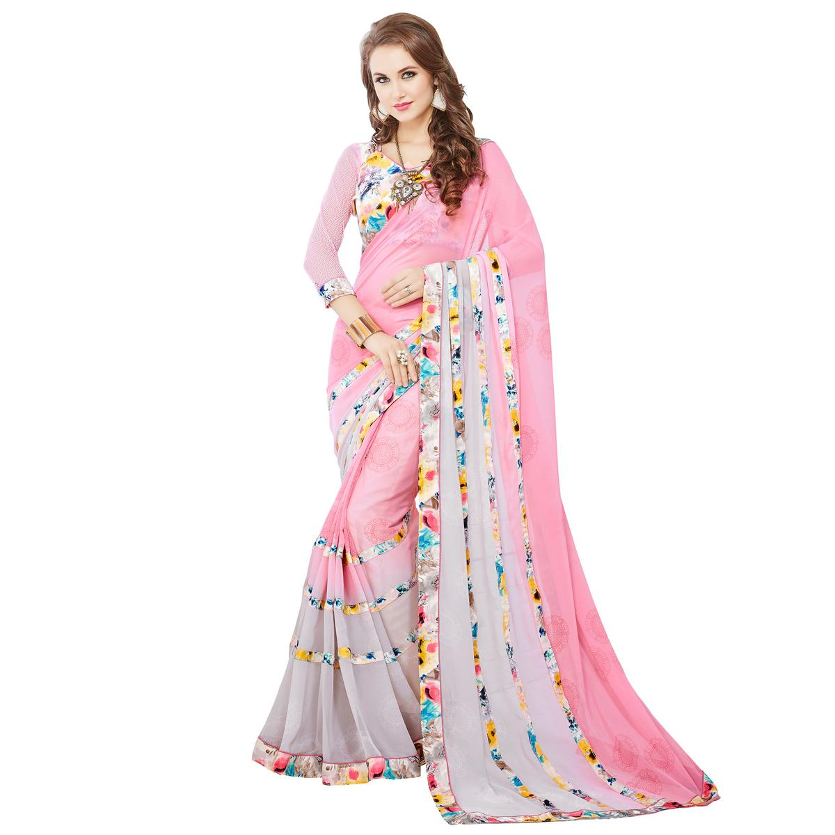 Pink - Grey Printed Georgette Saree