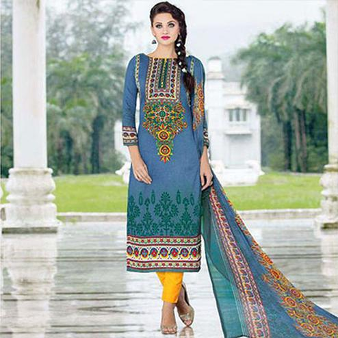 Blue Printed Straight Cut Suit