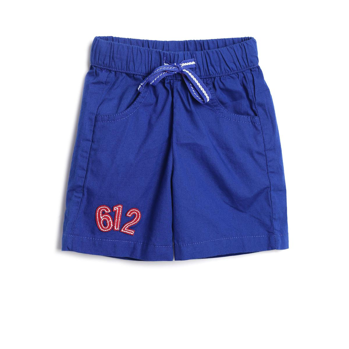 612 League - Blue Colored Solid Poplin With Embroidered Shorts For Baby Boys