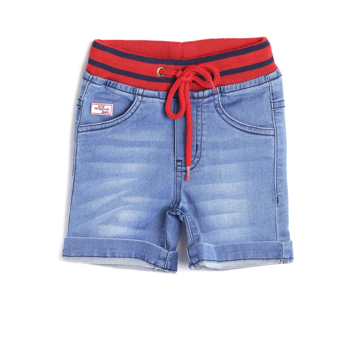 612 League - Blue Colored Red Rib Denim Shorts For Baby Boys