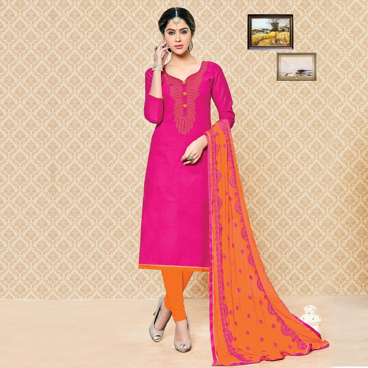 e52beaa12 Buy Pink - Orange Cotton Dress Material online India, Best Prices ...