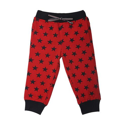 612 League - Red Colored Printed Star Aop Knits Joggers For Baby Boys