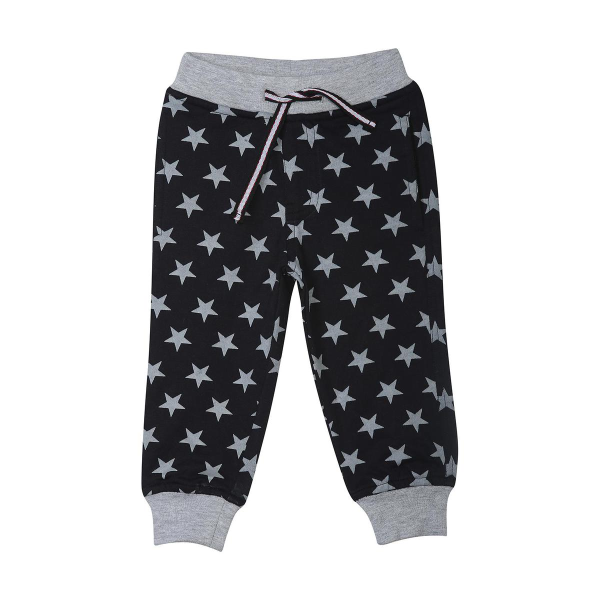 612 League - Black Colored Printed Star Aop Knits Joggers For Baby Boys
