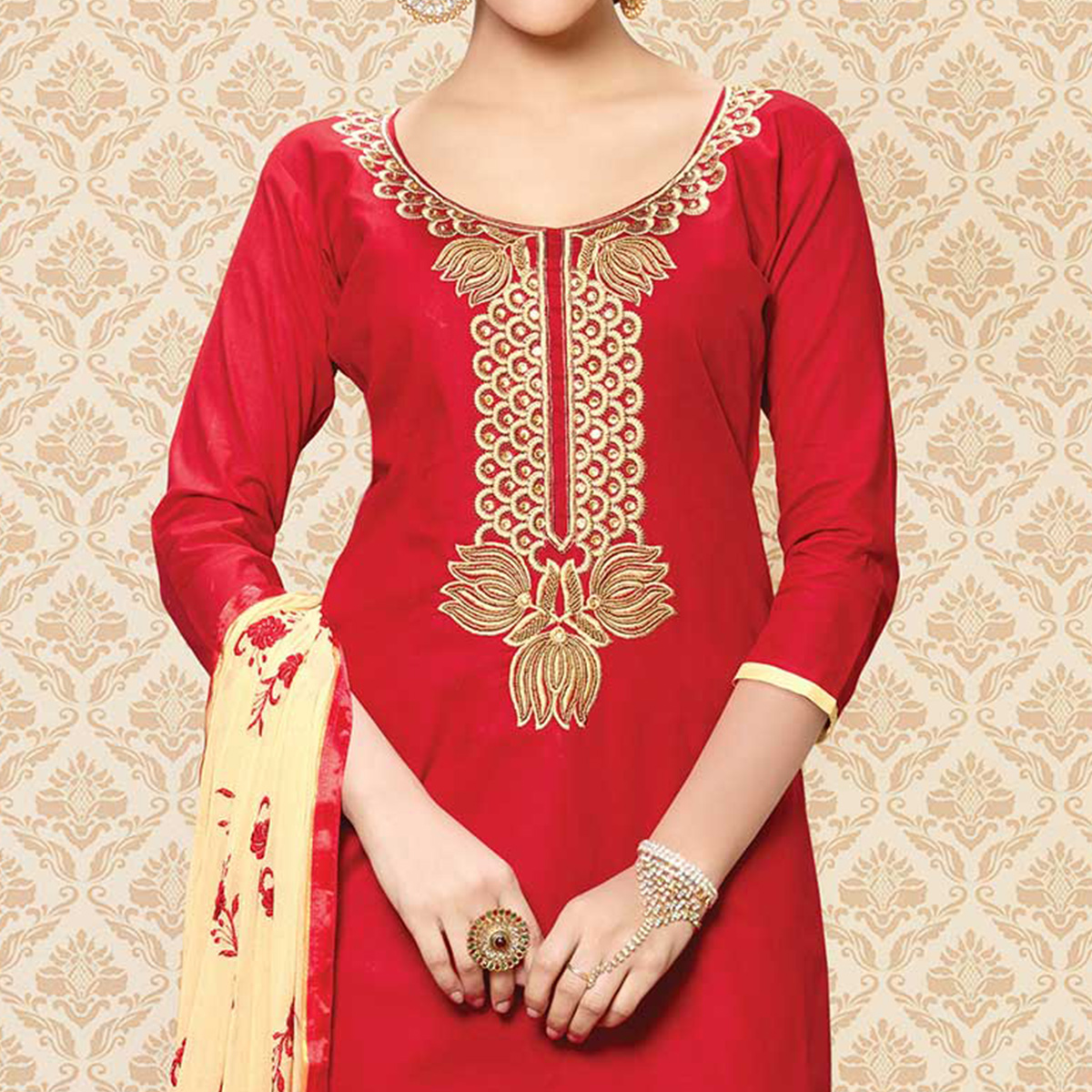 Red - Beige Cotton Dress Material With Embroidery
