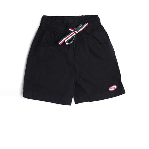 612 League - Black Colored Solid Poplin Shorts For Baby Boys
