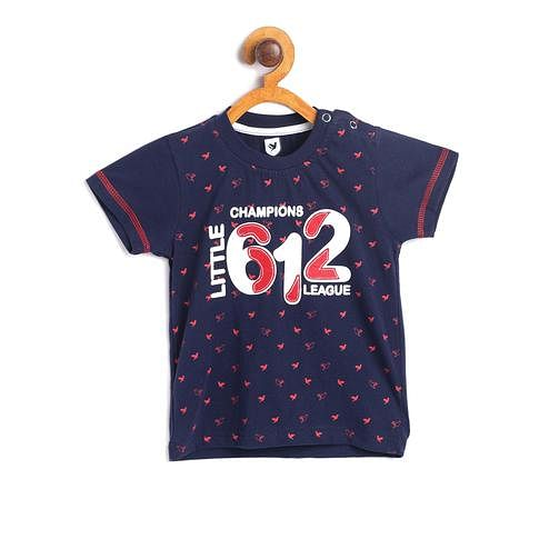 612 League - Blue Colored 612 Champions Printed Knit T-shirt For Baby Boys