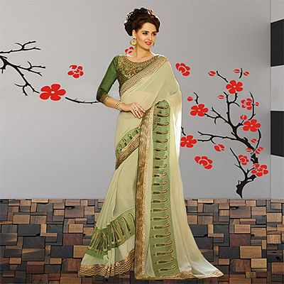 Pastel Green Georgette Thread Work Saree