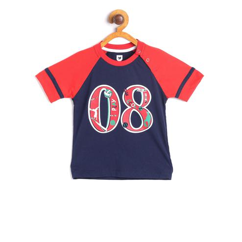 612 League - Blue Colored 08 Play Football Graphic Knit T-shirt For Baby Boys