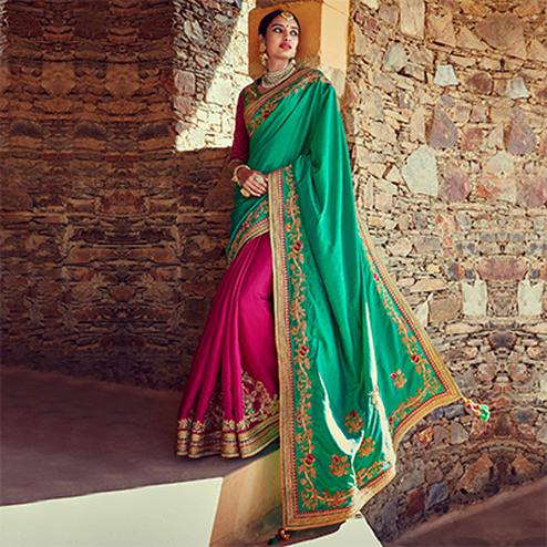 Pink - Green Wedding Wear Half & Half Saree
