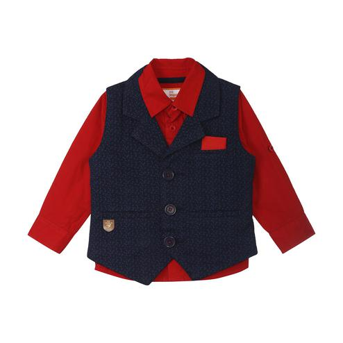 612 League - Red-Blue Colored Printed 2Pcs Shirt & Waistcoat Set For Baby Boys