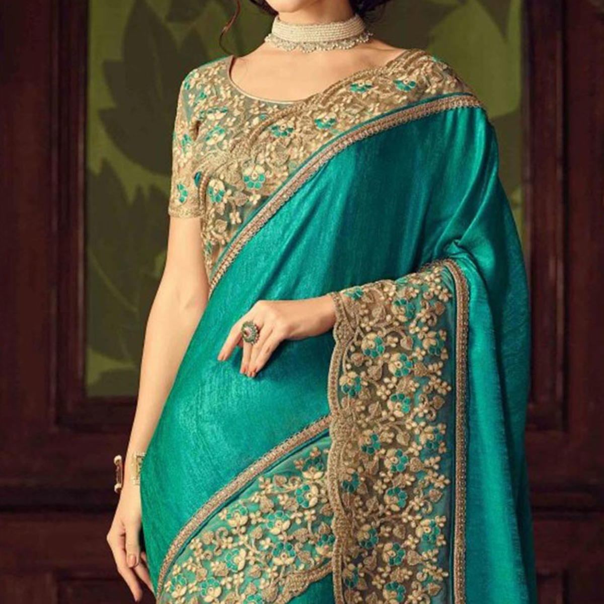 Sea Green Bhagalpuri Silk Saree