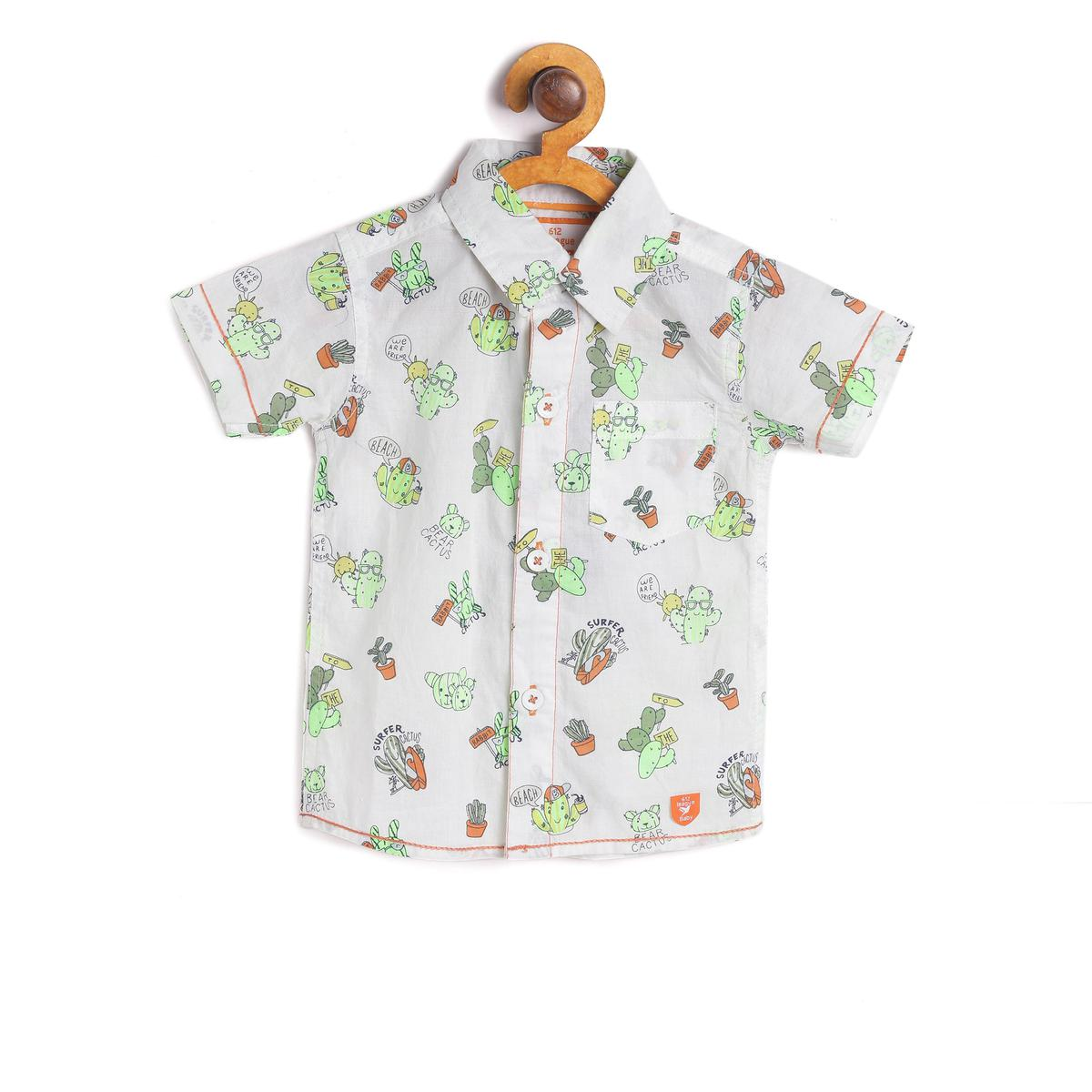 612 League - White Colored Printed Shirt For Baby Boys