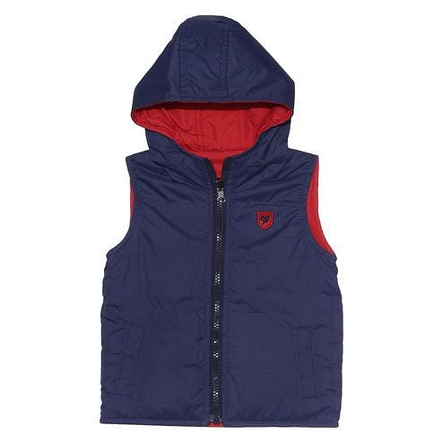 612 League - Blue Colored S/L Solid Reversible Jacket For Baby Boys