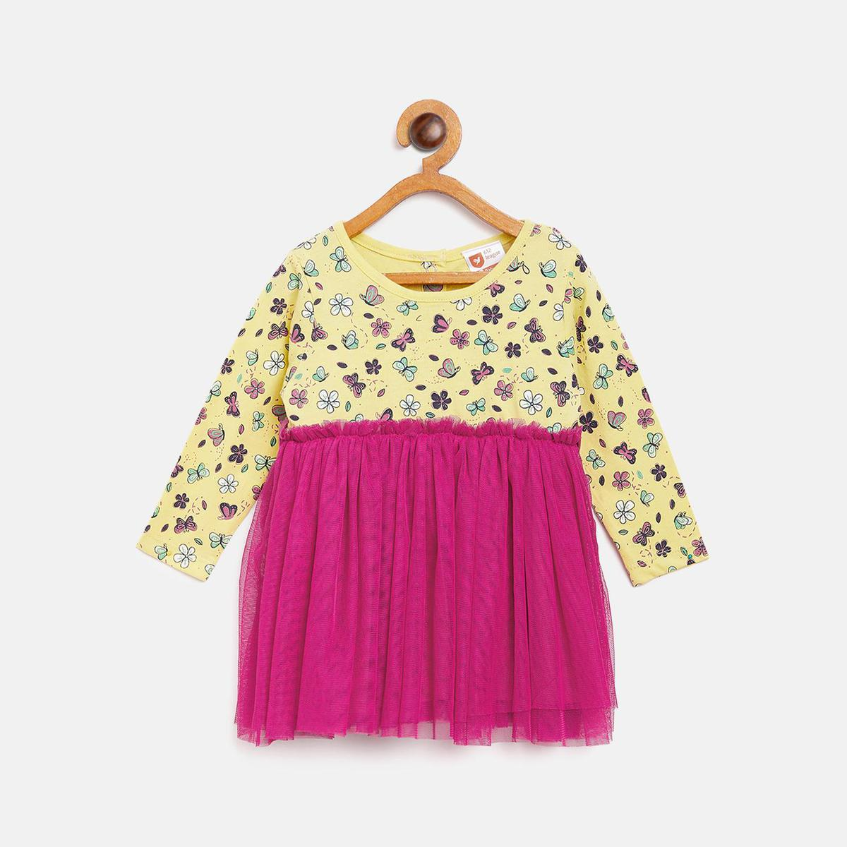 612 League - Yellow Colored Mix N Match Dress For Baby Girls