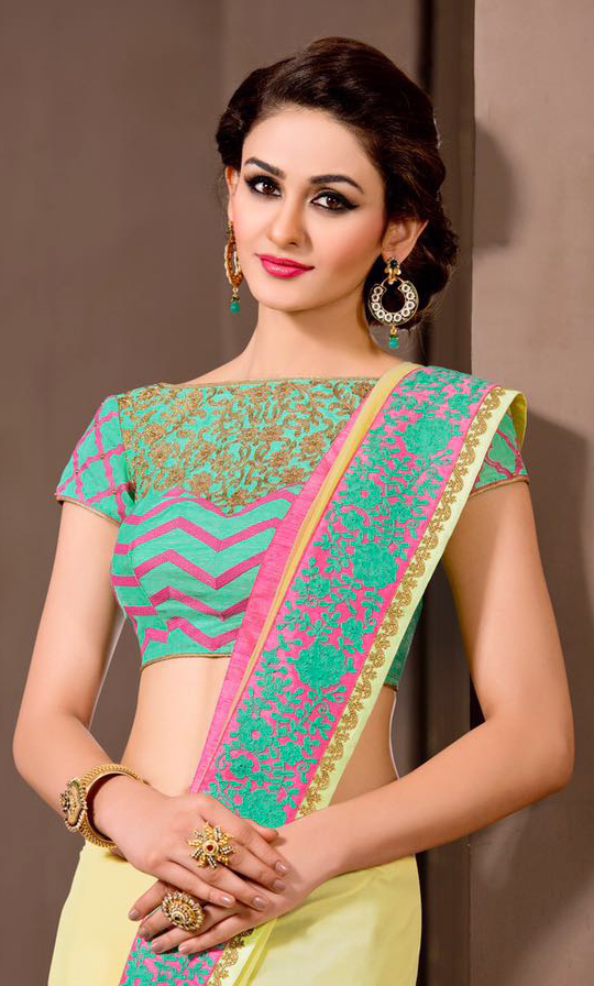 Plain Lime Yellow Saree with Embroidered Blouse
