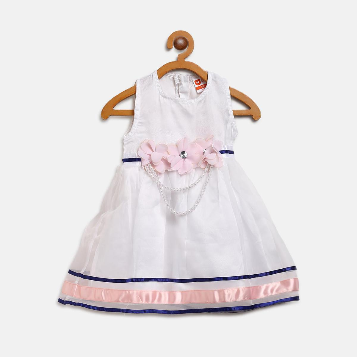 612 League - White Colored Solid Pearl Flower Organza Dress For Baby Girls
