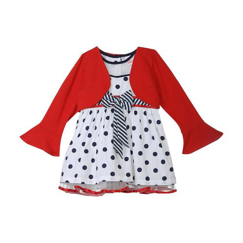 612 League - White Colored Polka Printed Dress For Baby Girls