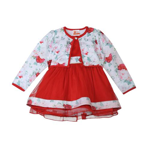 612 League - Red Colored Floral Net Dress For Baby Girls