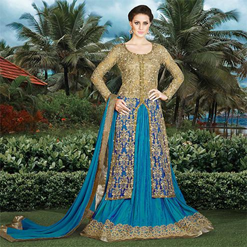 Beige - Blue party Wear Lehenga Suit