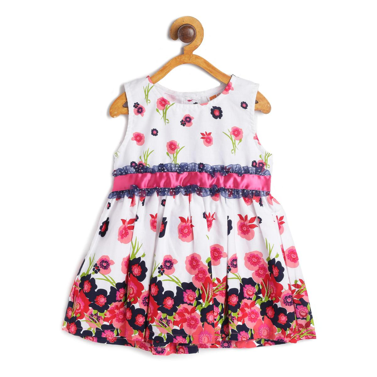 612 League - White Colored Floral Printed Dress For Baby Girls