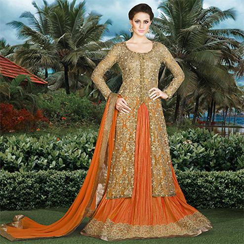 Beige - Orange Designer Lehenga Suit