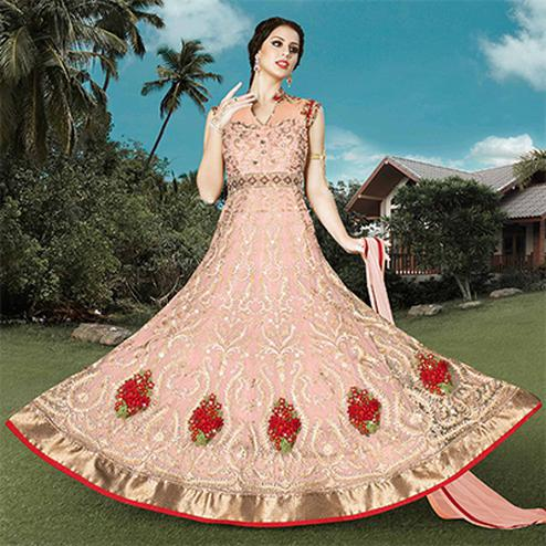 Pastel Pink Zari Embroidered Work Anarkali Suit
