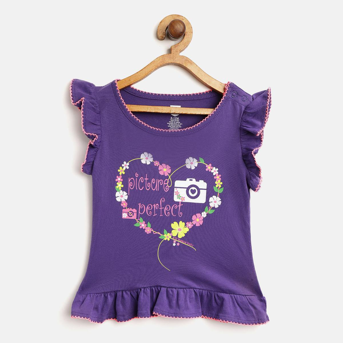 612 League - Purple Colored Picture Perfect T-shirts For Baby Girls