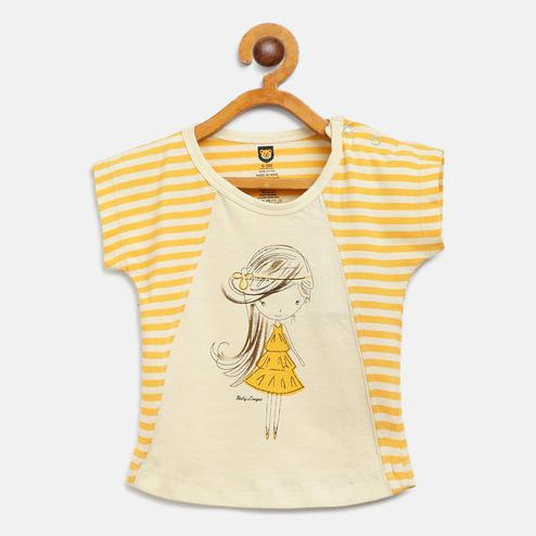612 League - Yellow Colored Striped Girl T-shirts For Baby Girls